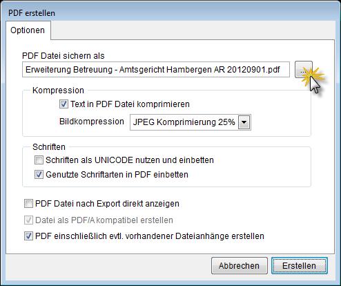 Optionen für PDF-Export