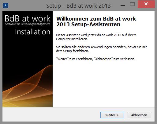 Startbildschirm des Installationsprogramms