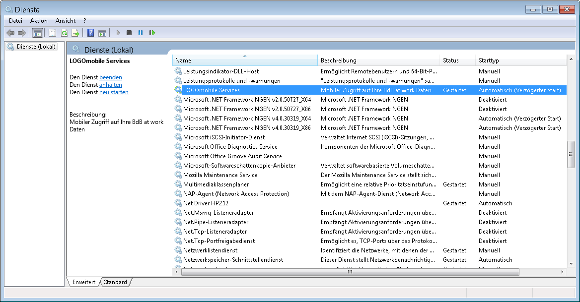 Windows Dienste mit LOGOmobile Service