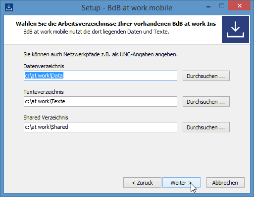 Installation Schritt 2 - Daten-, Texte- & Netzpfad auswählen