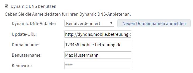 Beispiel für DynDNS Einrichtung an einer AVM Fritzbox