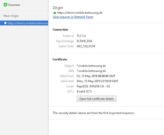 Sicherheitsdetails aus Google Chrome einer BdB at work mobile - Site