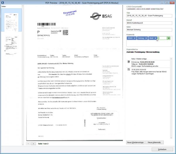 PDF Vorschau mit Zugriff auf Aktennotizen und Wiedervorlagen