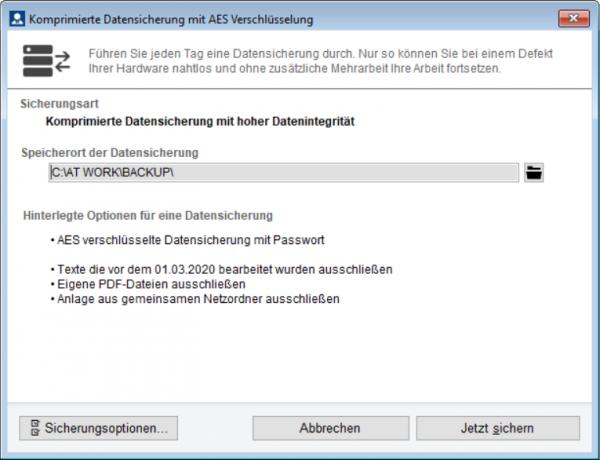 BdB at work Datensicherung mit AES-256 Verschlüsselung