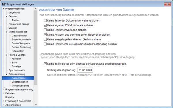 Eine von drei Optionen-Seiten in den Programmeinstellungen für die Datensicherung